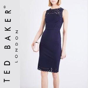 Ted Baker Navy Verita Cutout Yoke Sheath Dress 0